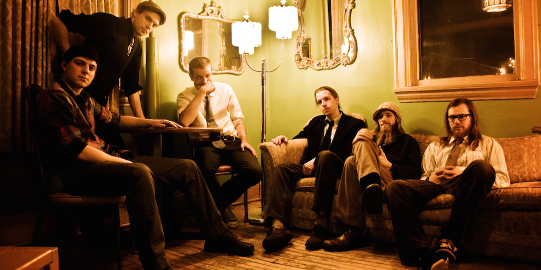 Lovely Socialite is, from left to right: Mike Koszewski, Ben Willis, Corey Murphy, Abe Sorber, Brian Grimm, and Pat Reinholz.