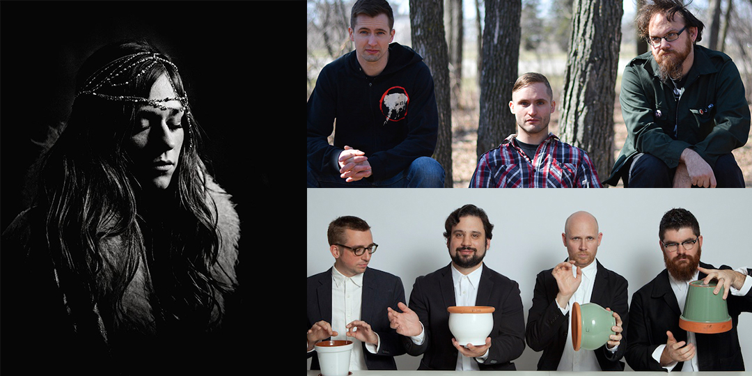 Clockwise from left: Jex Thoth plays the High Noon Saloon on October 28, KEN mode plays the Dragonfly on November 4, and So Percussion plays the Union Theater on November 7.