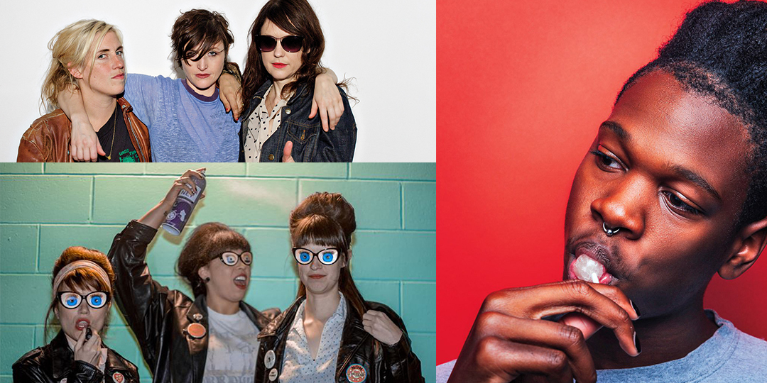 Clockwise from top left: Ex Hex play the High Noon Saloon on July 21; Shamir plays the Terrace on July 19; and Thee Tsunamis play the Crystal Corner Bar on July 17.