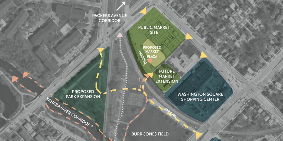 A map of the current proposed East Side Public Market site.
