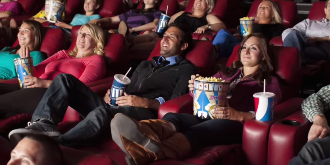 A screenshot from a Marcus Theatres  promotional video touting its Dream Lounger recliners.