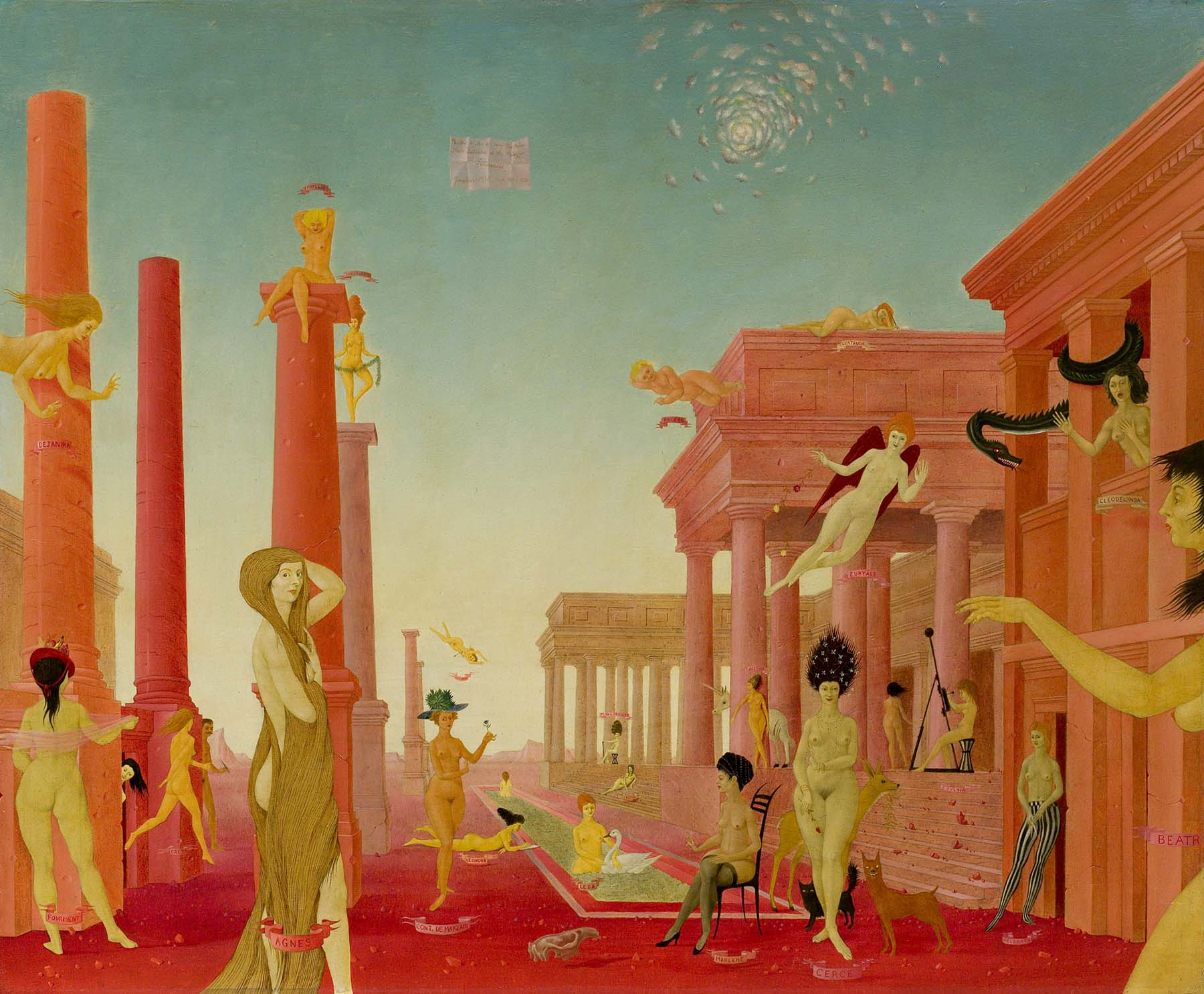 "John Wilde (1919-2006), ""More Festivities at the Palazzo Sanseverini,"" 1951-52, oil on wood panel, 20 1/8 x 24 3/8 inches / 51.1 x 61.9 cm; Private Collection; Courtesy of Michael Rosenfeld Gallery LLC, New York, NY"