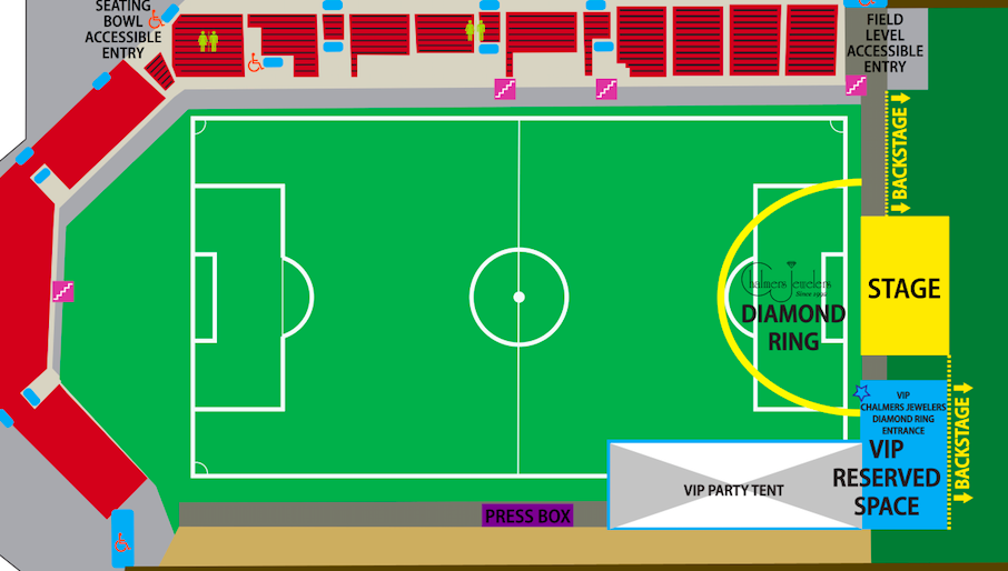 "A seating chart from the Breese Stevens Field website illustrates how the ""Gold Circle"" section spans the front of the stage."