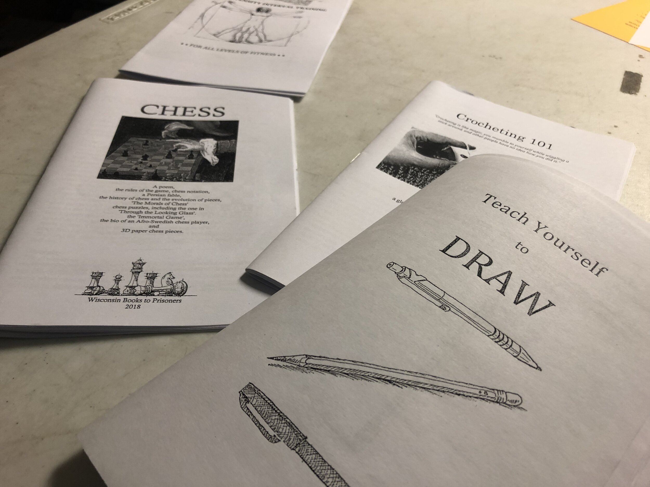 Wisconsin Books To Prisoners has created several of its own zines on various subjects, in addition to sending copies of existing books to incarcerated people.