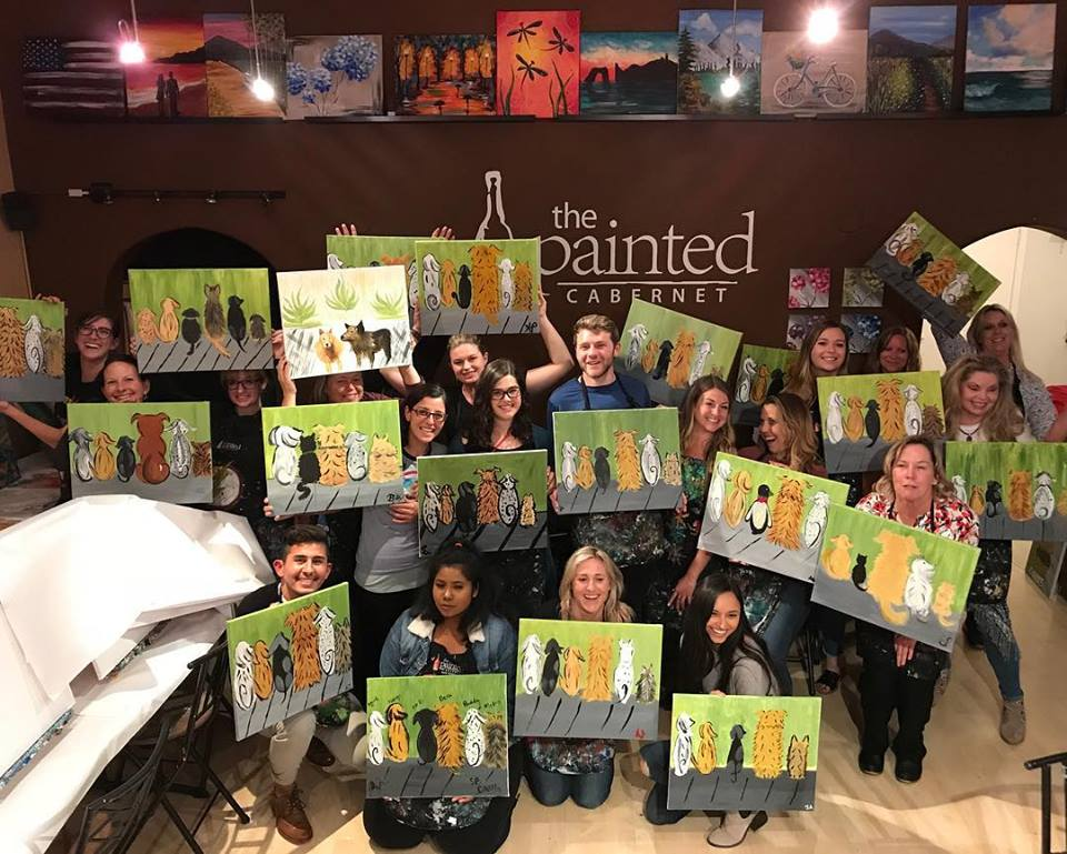 The beautiful works of art from the attendees of The Painted Cabernet wine and Paint fundraiser for DAWG!