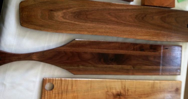 Three bread serving boards: Cherry, Walnut and Oak
