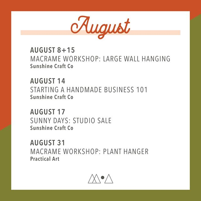 Happy August everyone! ✨ I'm looking forward to a great month and am excited to share these local Phoenix events with you 😊 〰️⠀ There are 2 spots left for the large (3') wall hanging workshop starting next week! Grab a ticket today if you'd like to select a rope color ❤️ 〰️ Interested in potentially starting your own handmade business? Come hear my tips & tricks, plus what a TPT is at the Business 101 class! 〰️ Save the date for my STUDIO SALE on Saturday the 17th. I'll be marking down old inventory up to 75% 🎉 My studio is at @sunshinecraftco and there will be a mini market of small business vendors to browse as well! 〰️ Then! Snag a ticket for my last workshop of the month ➡️ plant hangers 🌿 Link to everything in my bio 😘 〰️ Hope to see you at an event or during craft times at @sunshinecraftco ☀