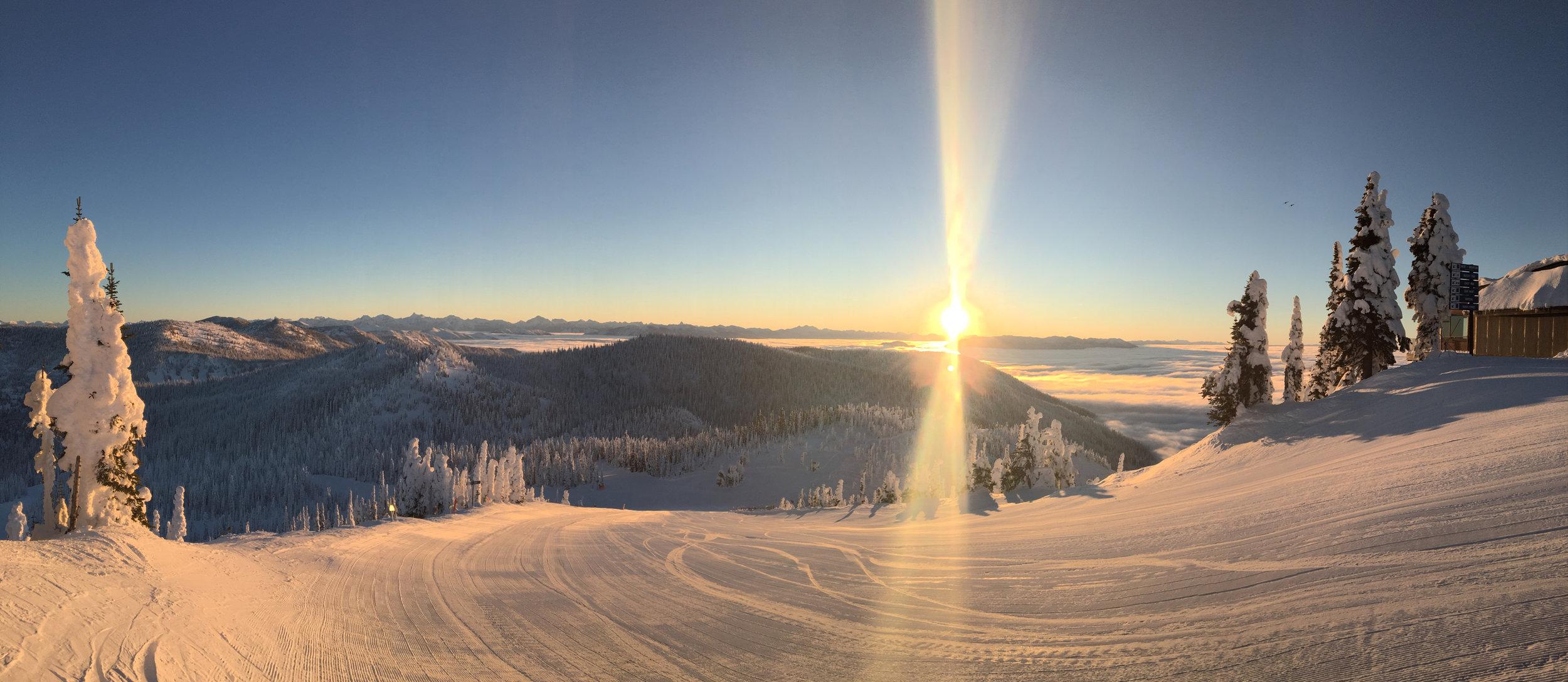 Sunrise on Whitefish Mountain Resort.