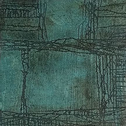 Teal Scratch  by St. Paul, MN,  mixed media artist, Amy Tillotson