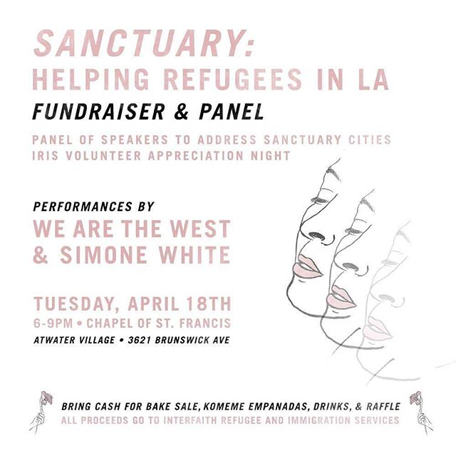 Tuesday!  We're pleased to perform at a special #benefit for #iris, Interfaith Refugee & Immigration Services, along with the always wonderful @simonewhitemusic.  Join us inside the Chapel of St. Francis of Atwater Village, 6-9p.  We go on at 8p.  #sanctuary #refugee #awaken