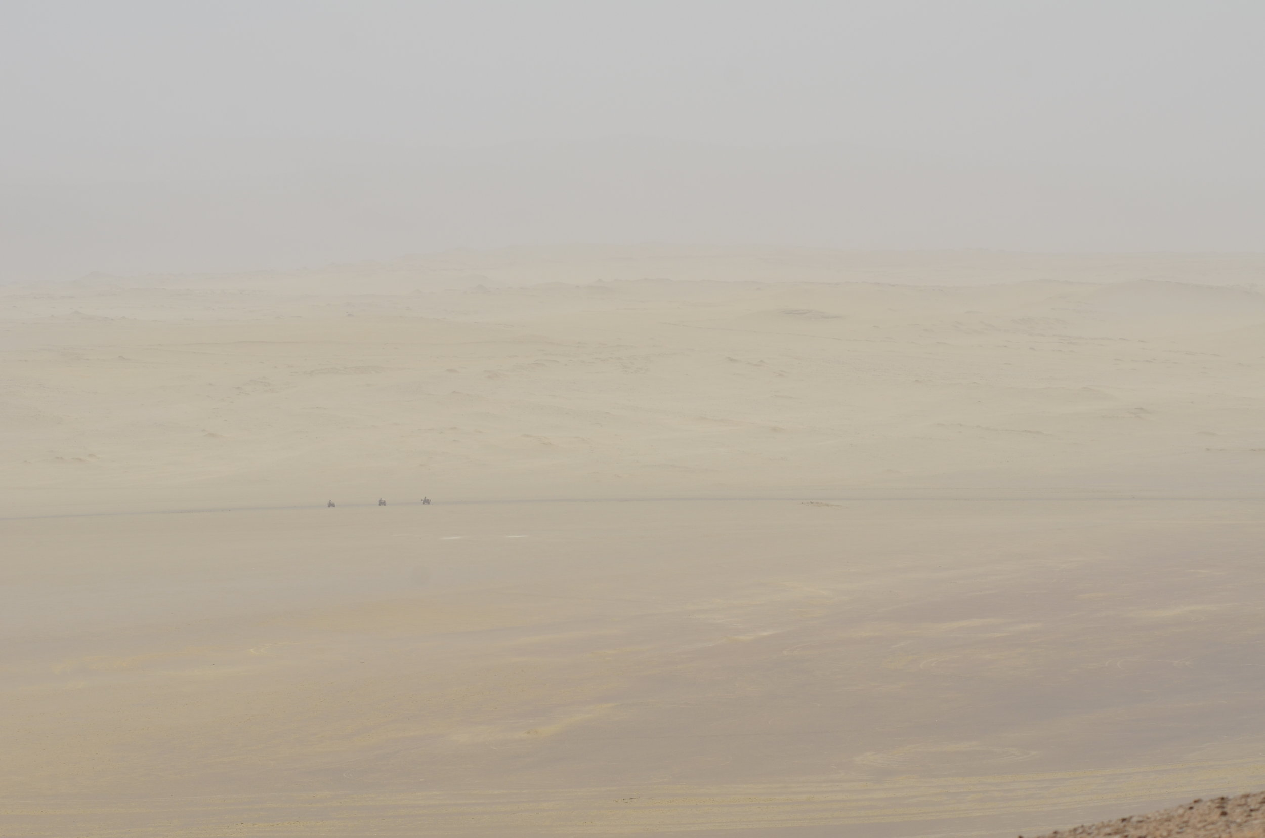 "Dune buggies out on ""Mars"""