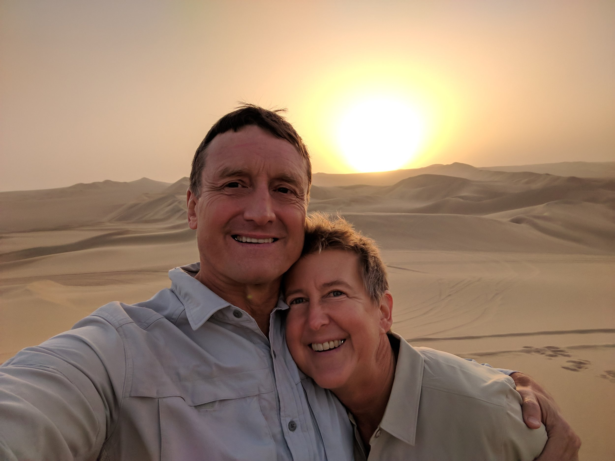Sunset over the desert at Huacachina (dune buggy ride)
