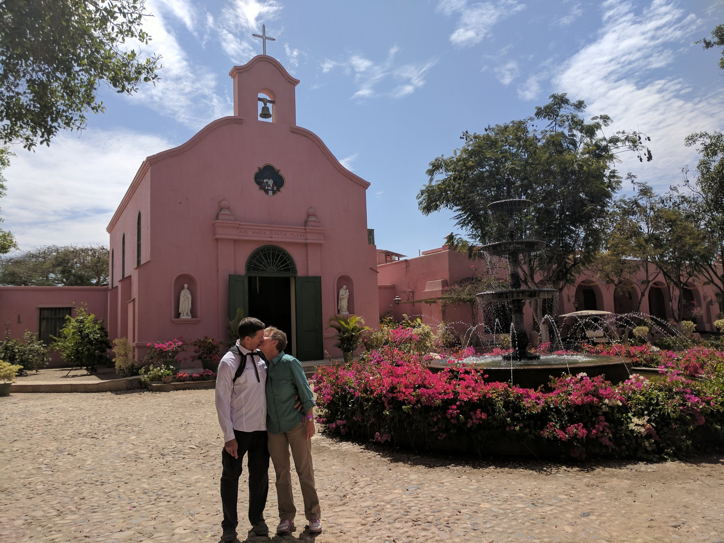 In the courtyard of Tacama, the winery outside of Arequipa