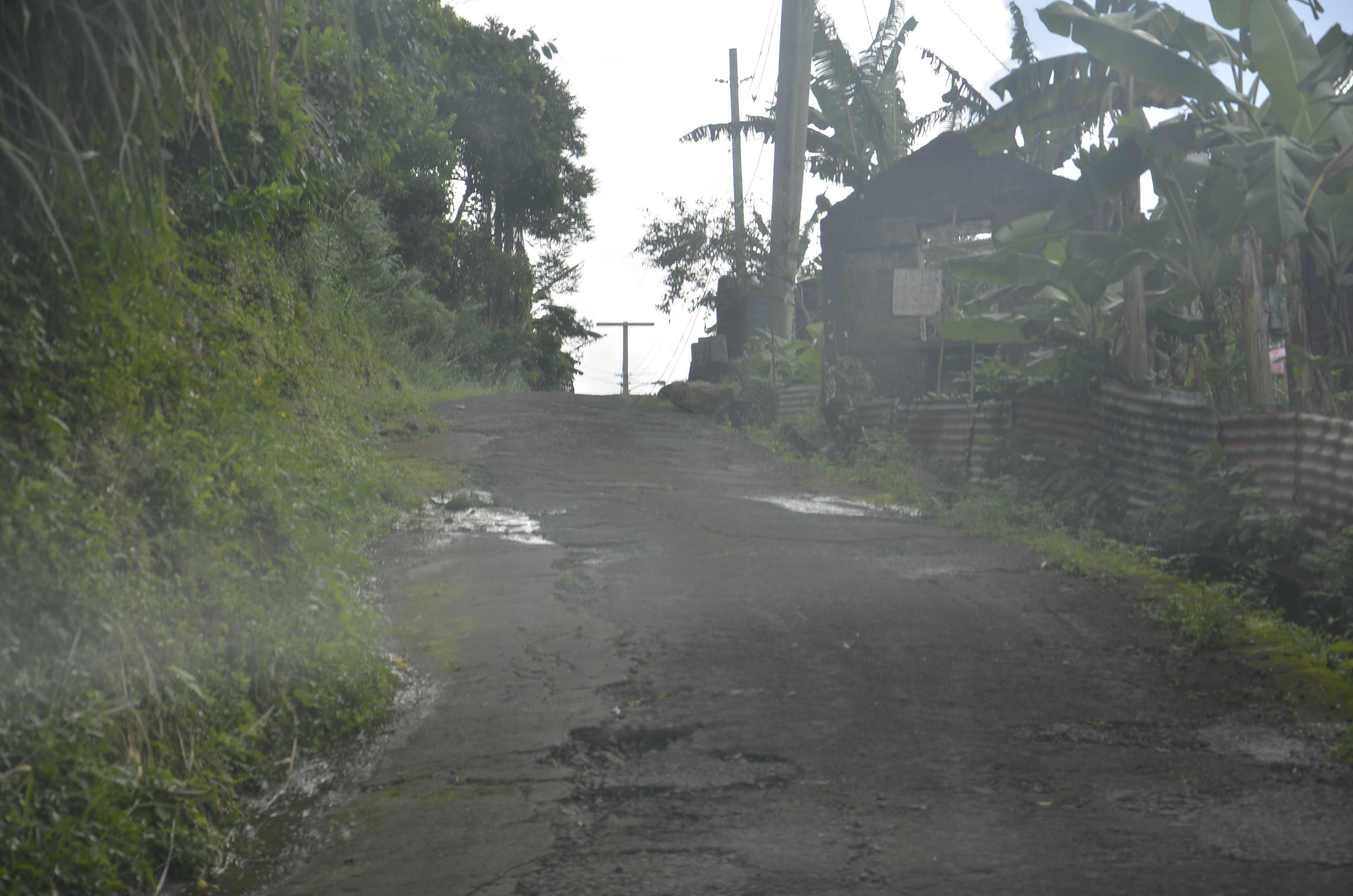 This is the type of road that existed up the middle of the island.