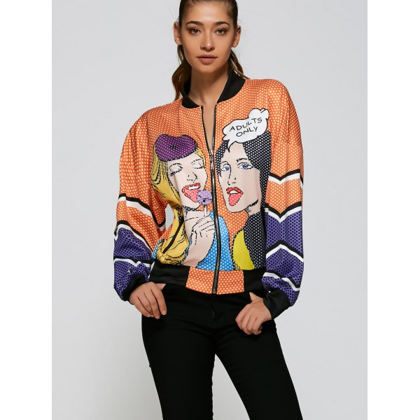 Printed Loose Bomber Jacket - Orange.jpg