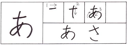Learning Hiragana; the Japanese alphabet. あさ= asa, morning.