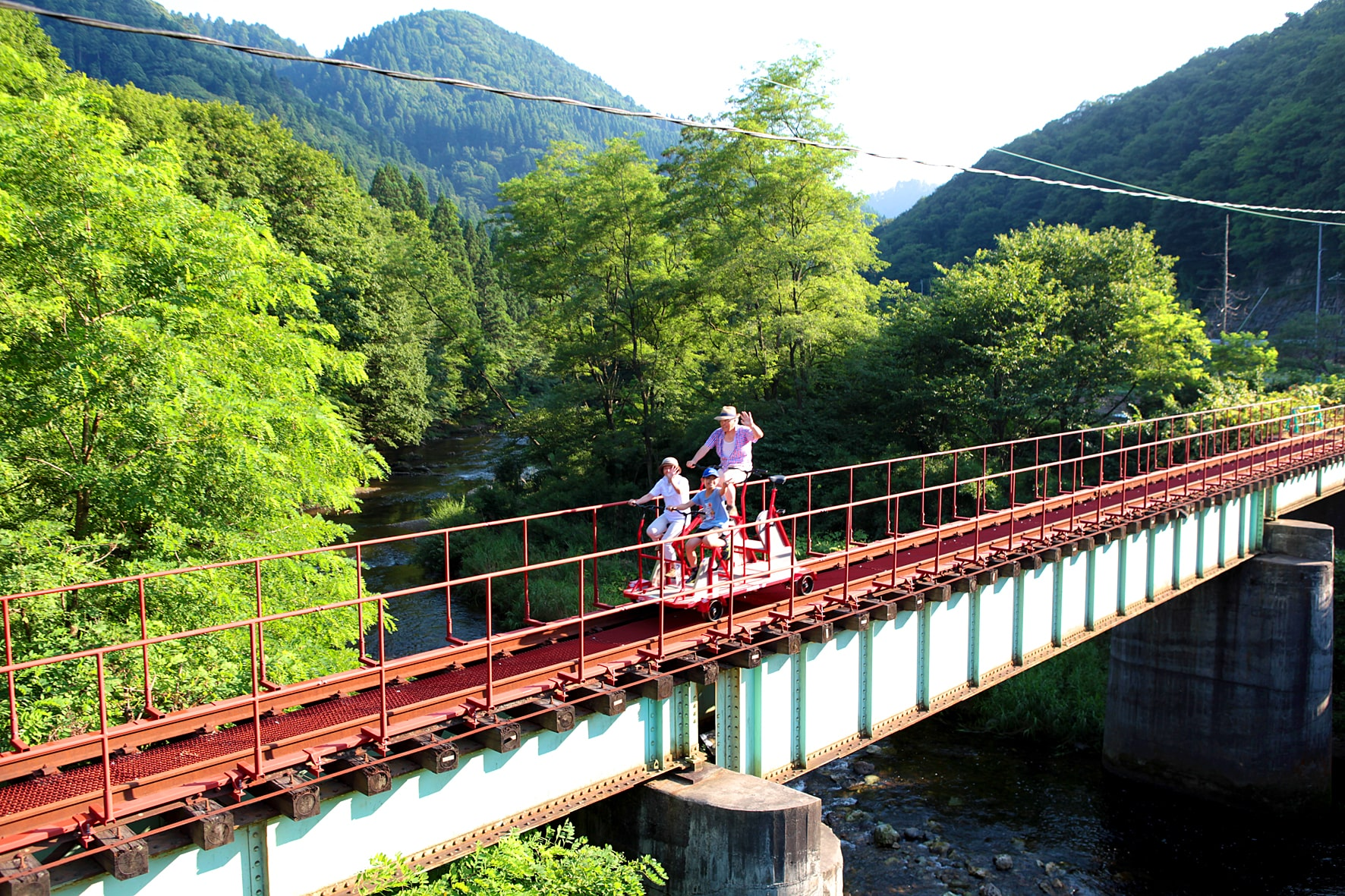 Rail park ride with Summery scenery