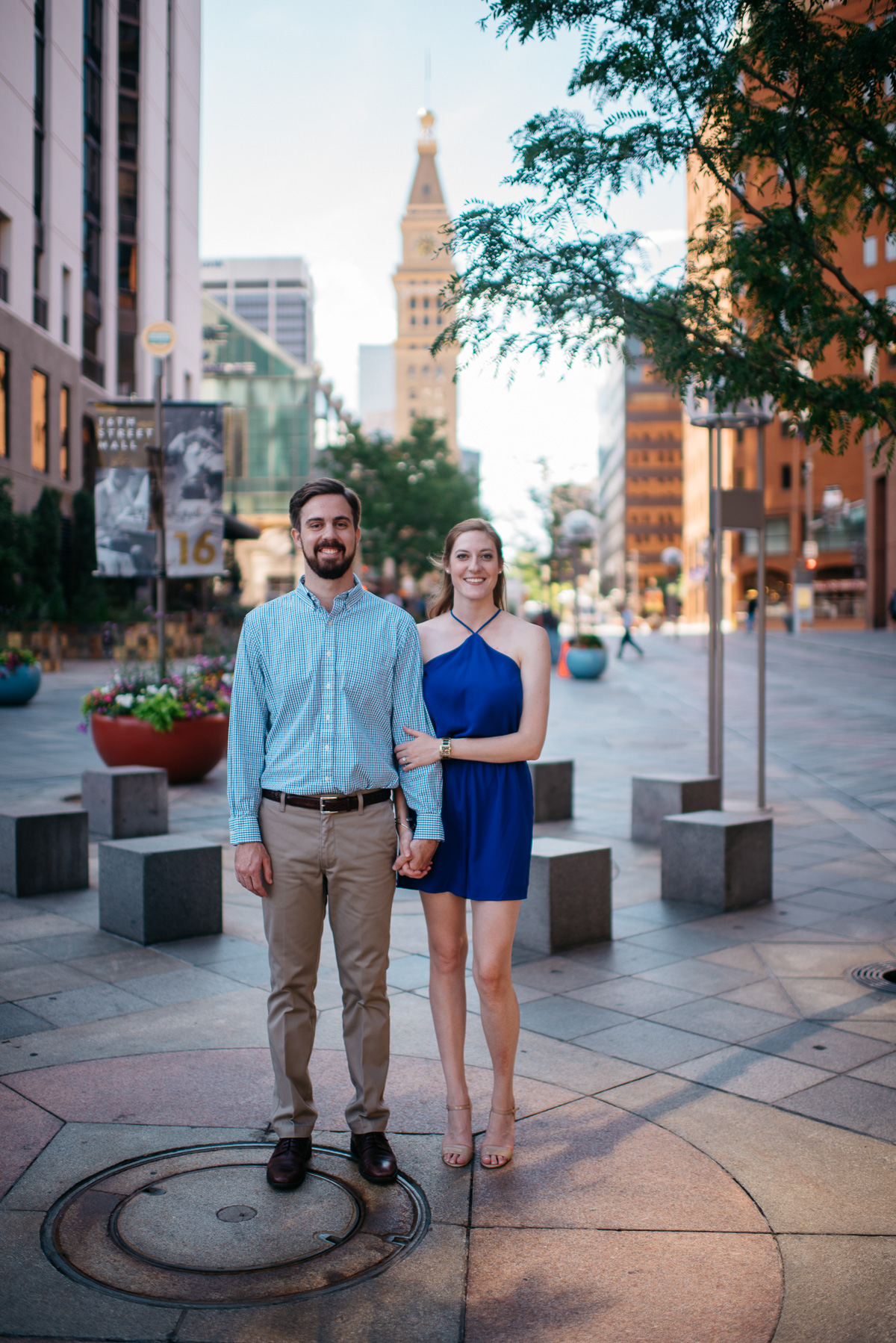 Downtown Denver engagement session by the clock tower