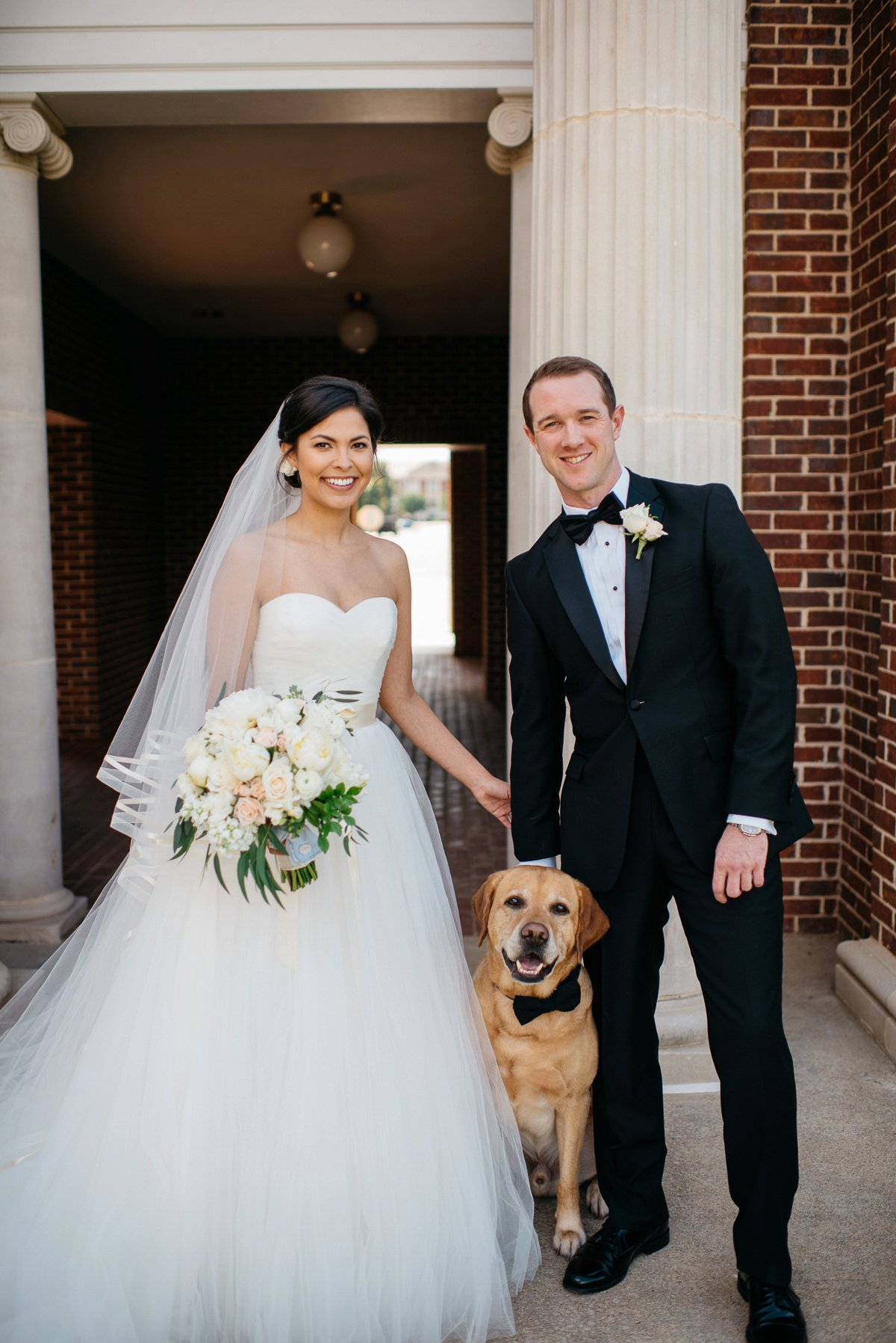 Mississippi Wedding Photography with dog at Paris Yates Chapel on the Ole Miss Campus