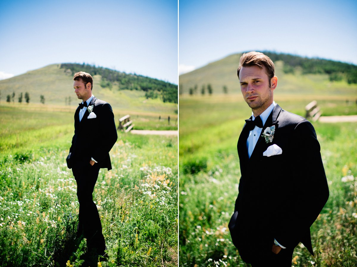 groom destination wedding photography at strawberry creek ranch in granby colorado