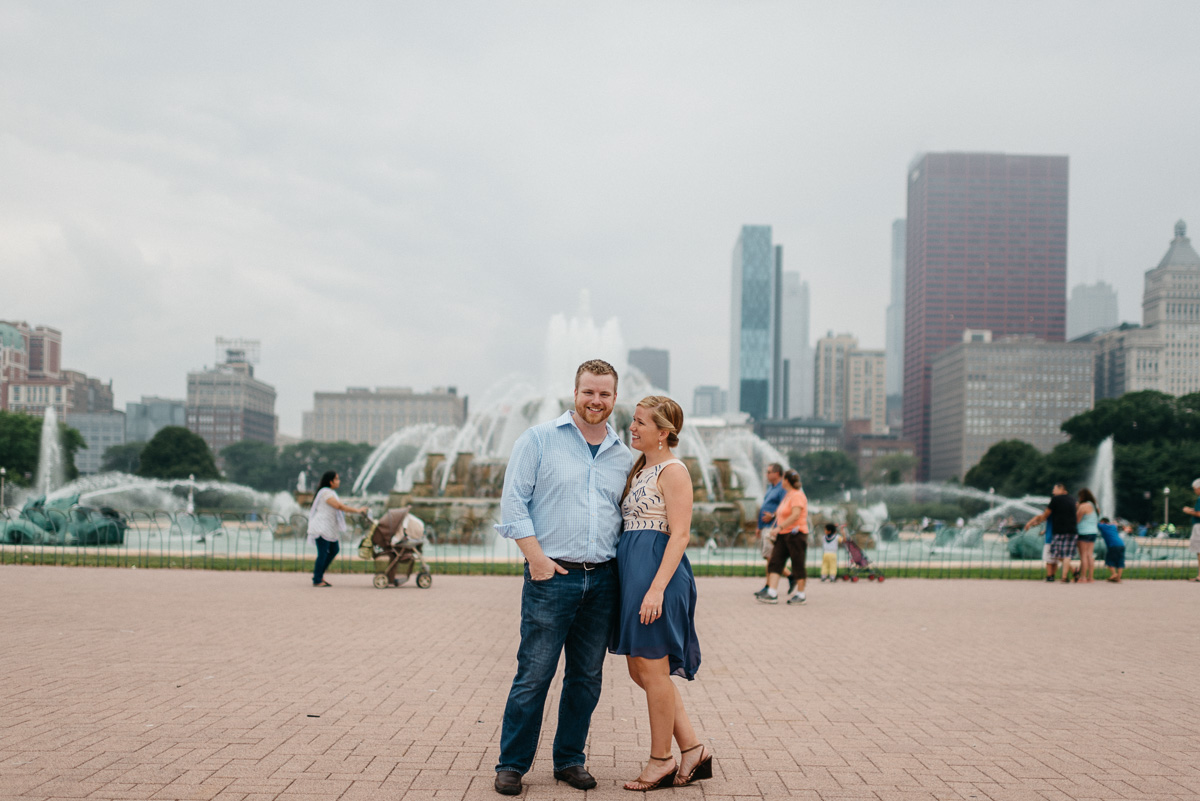 destination Engagement photography at Buckingham Fountain in Chicago