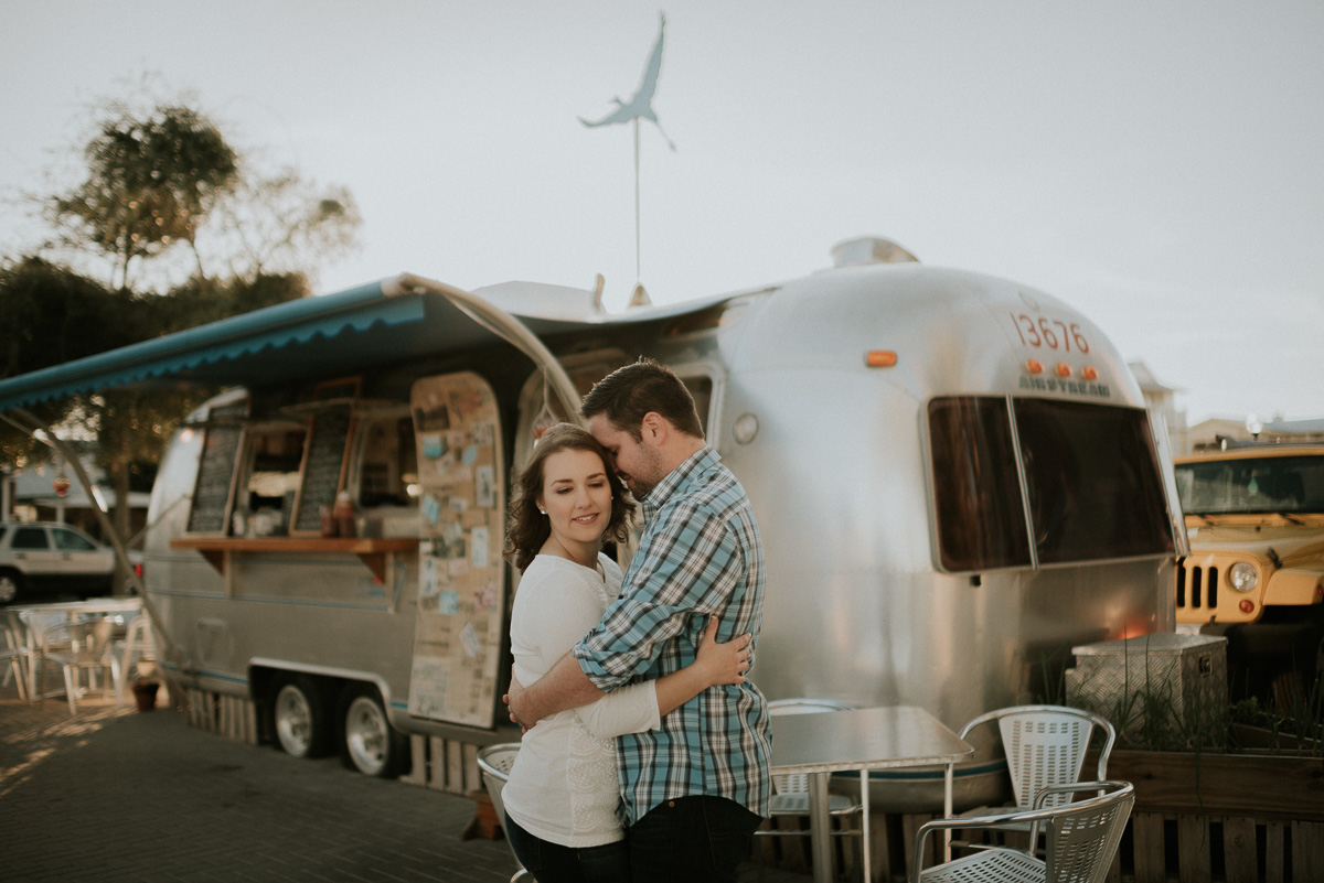 Destiniation Engagement photography at Seaside, Fl near airstream trailer food trucks