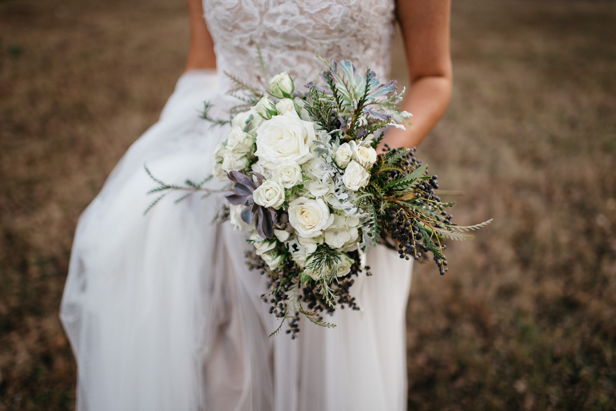 Elopement bridal photography on the grounds at Rowan Oak, Faulkner's home, flowers by oxford floral