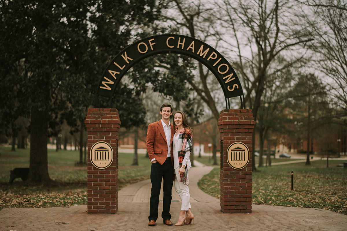 the walk of champions ole miss engagement Photography