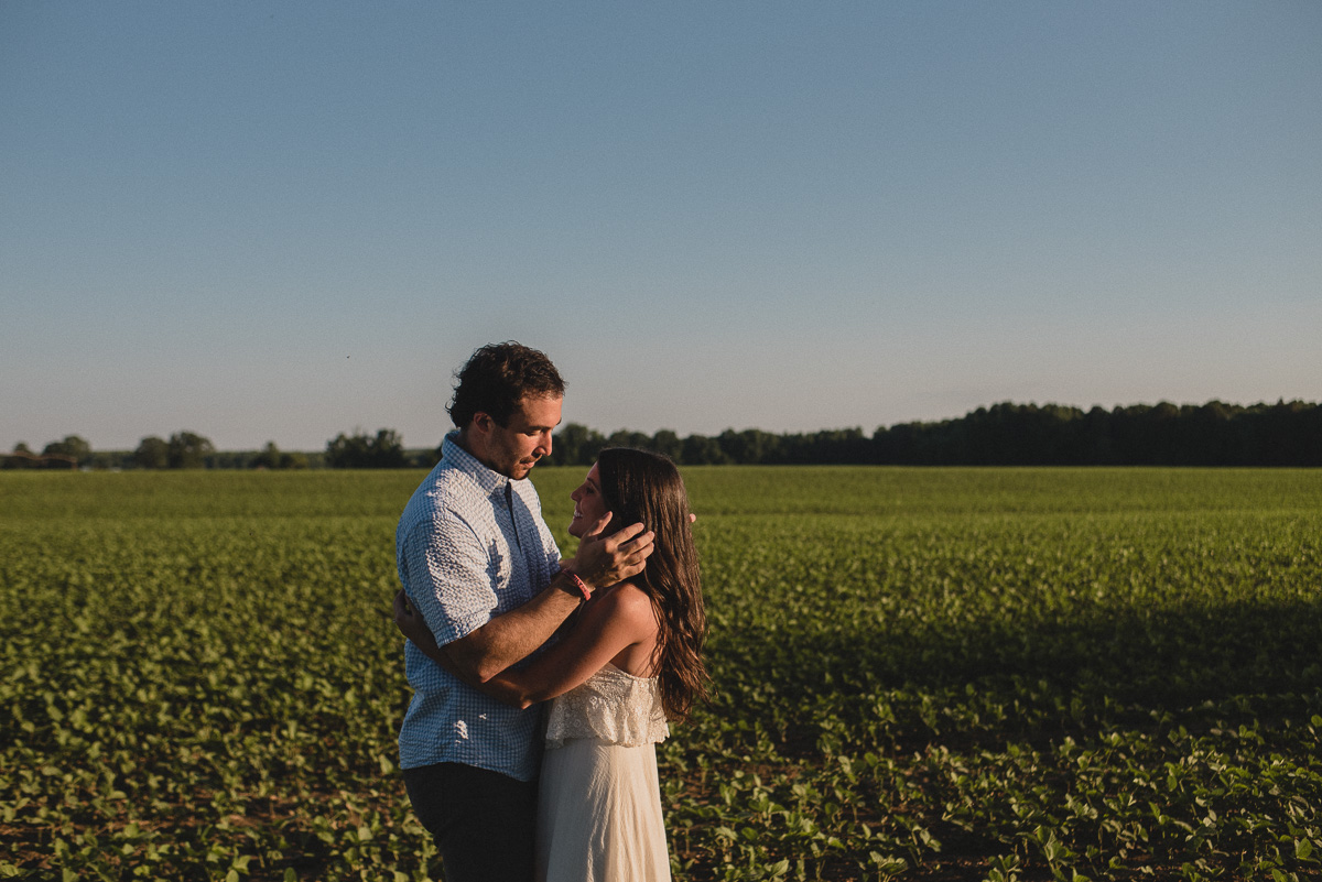 Mississippi engagement photography outside in a field