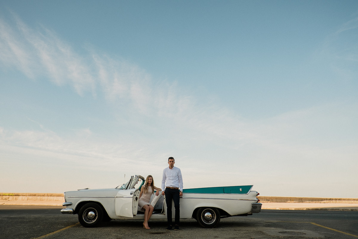 destination engagement photography along the malecon in old havana, cuba by wedding photographer danny k