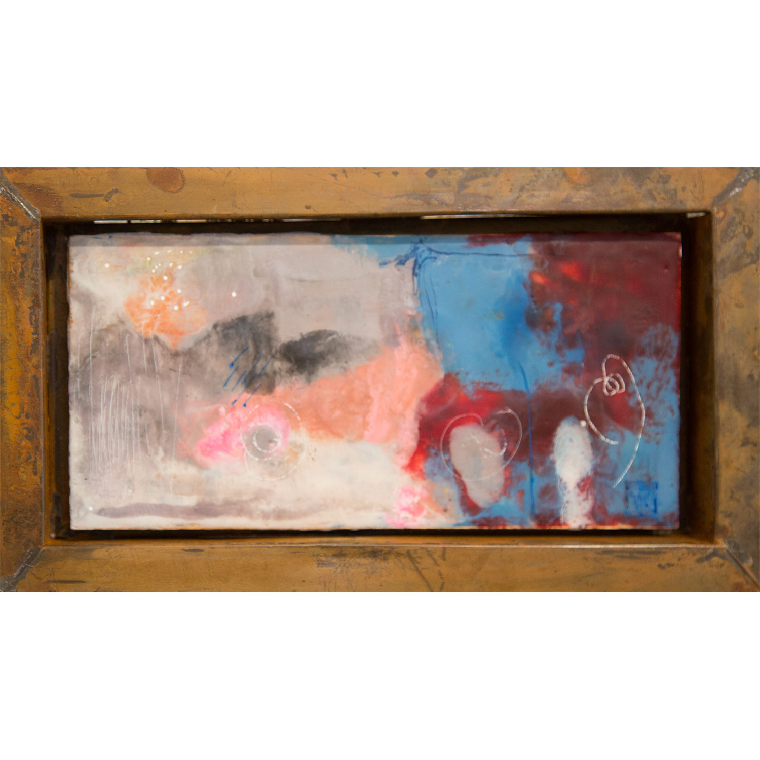 And She Danced in the Rain  Encaustic on panel in rusted Mexican frame, 15 x 28cm   Enquire