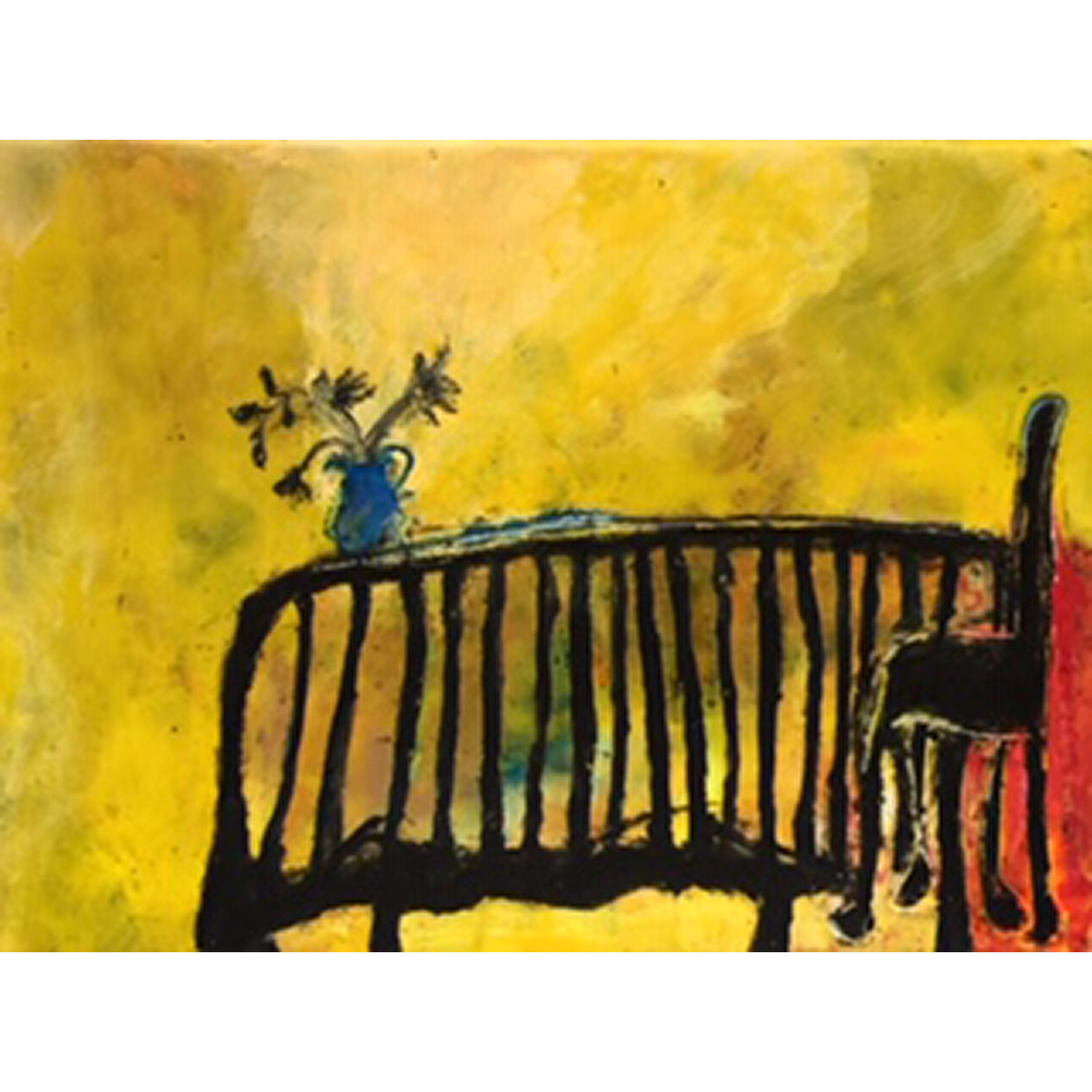 Yellow is the Colour of Longing  Encaustic and mixed media on panel  SOLD