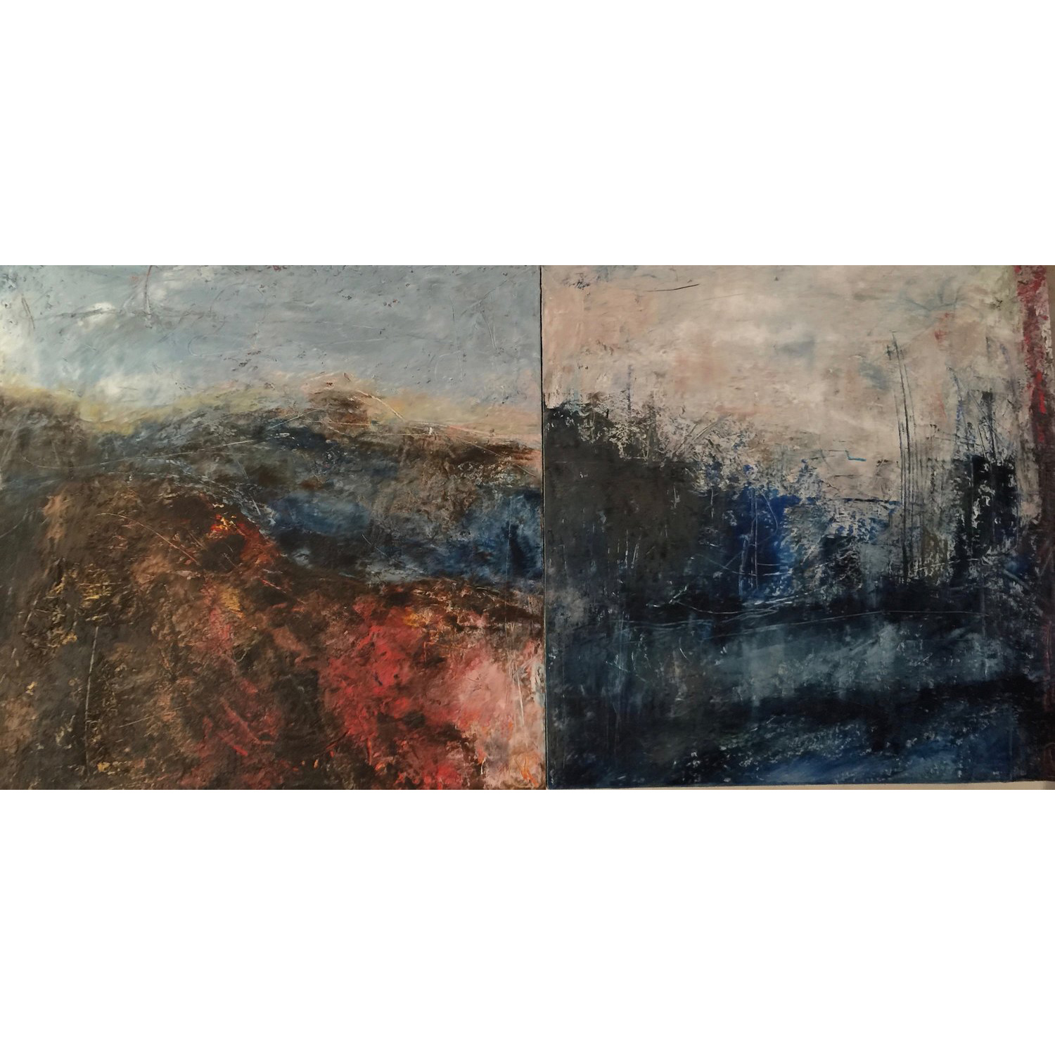 Blue Mountains to the Harbour  Cold wax and oil on two cradled panels  SOLD