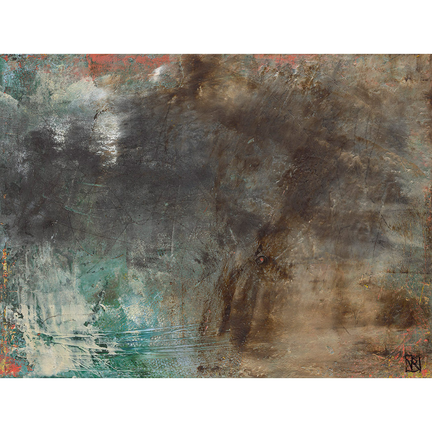 Piha II  $370 Cold wax and mixed media on cradled panel   Enquire