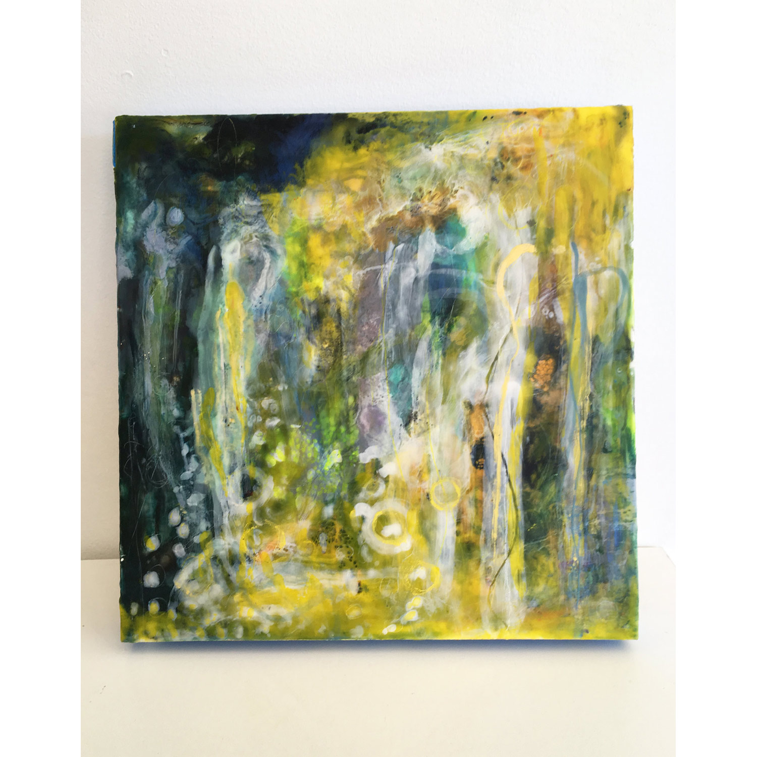 Big Drops at Last  $850 Encaustic and mixed media on cradled birch panel, 40 x 40cm   Enquire