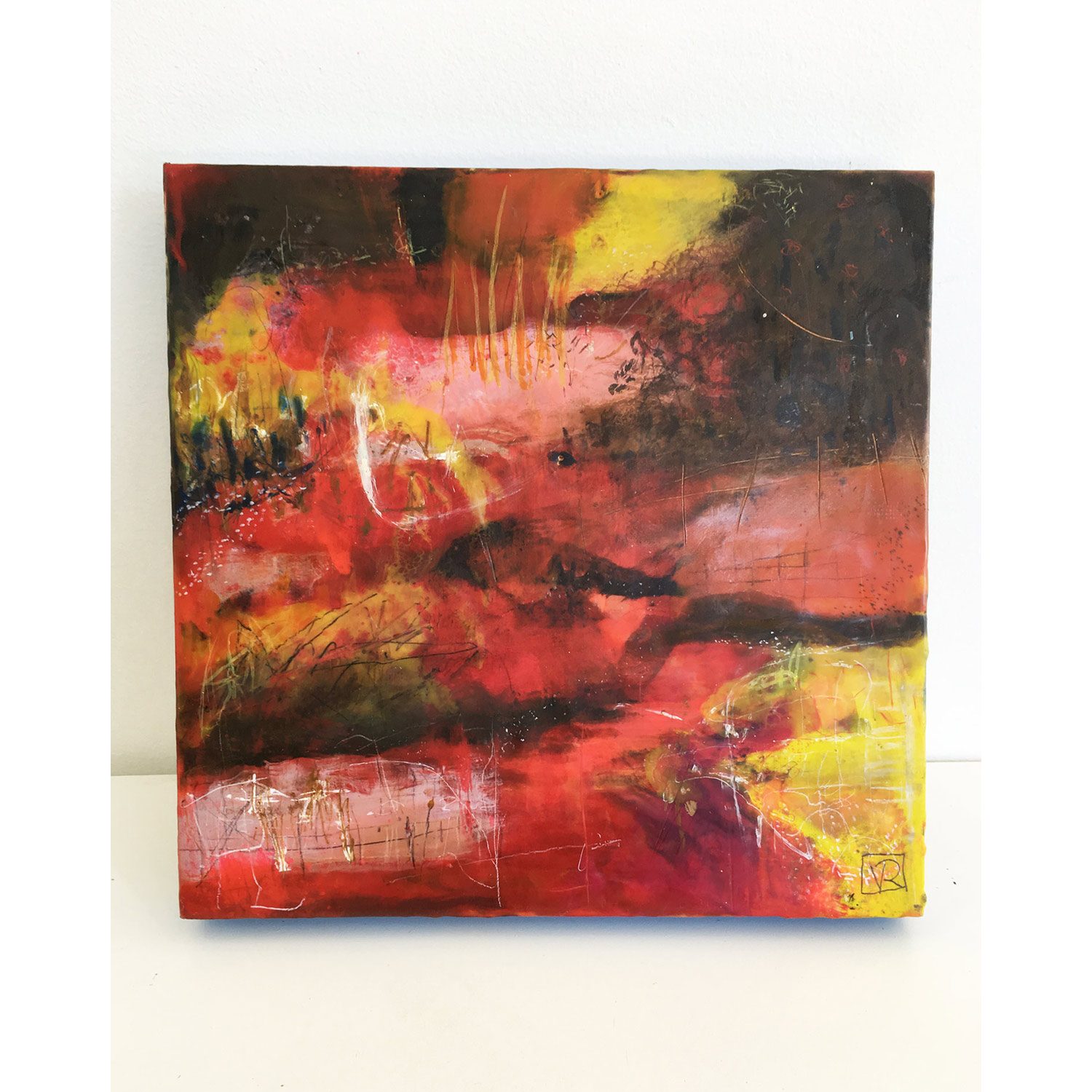They Arrived in Droves  $780 Encaustic and mixed media on cradled birch panel, 36 x 36cm   Enquire
