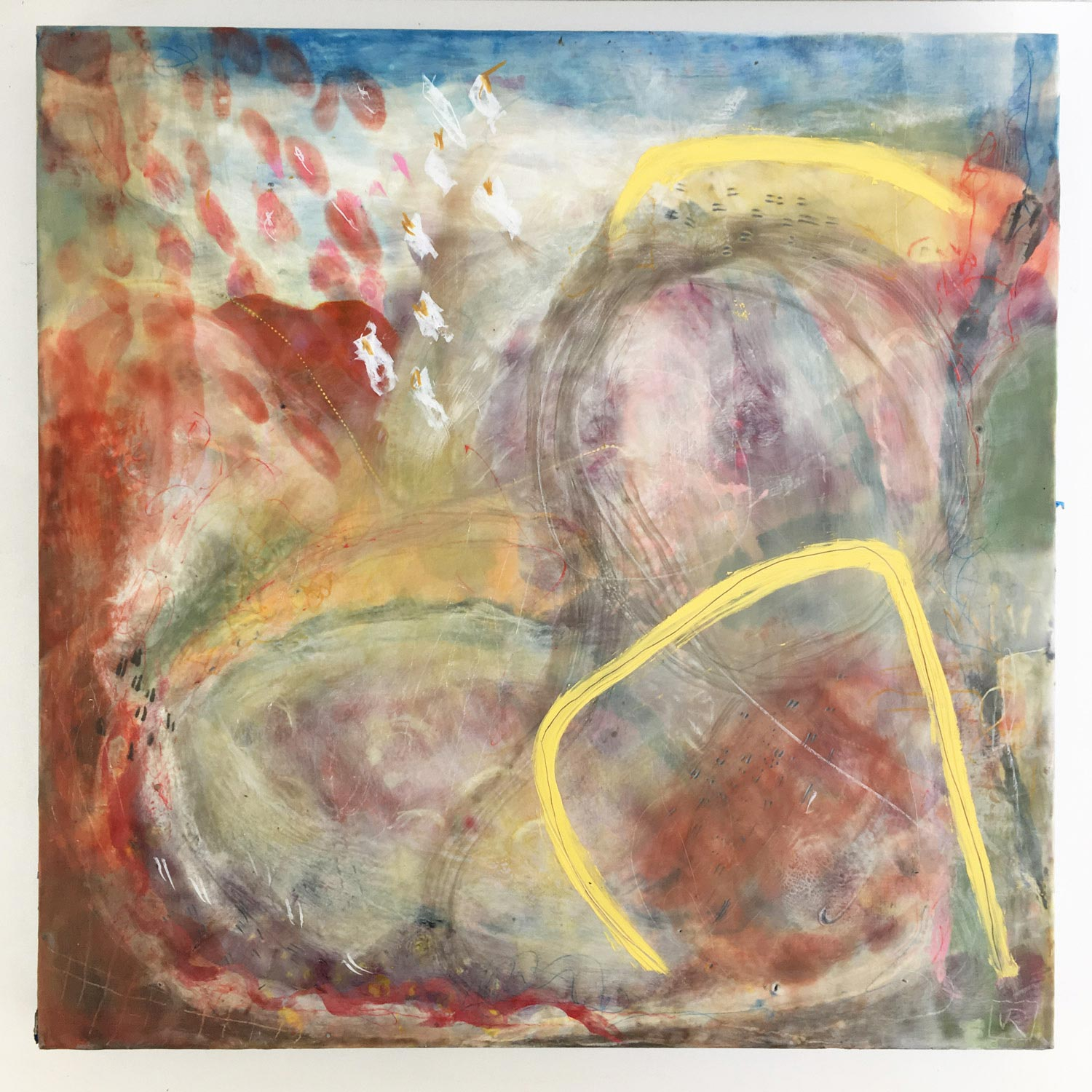 Pitter Patter  $950 Encaustic and mixed media on cradled birch panel, 50 x 50cm   Enquire