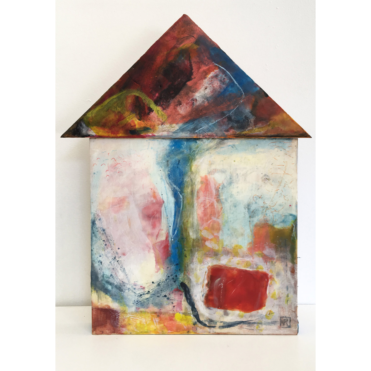 House on the River Bend  $950 Encaustic and mixed media on 2 cradled birch panels, 58 x 42cm   Enquire