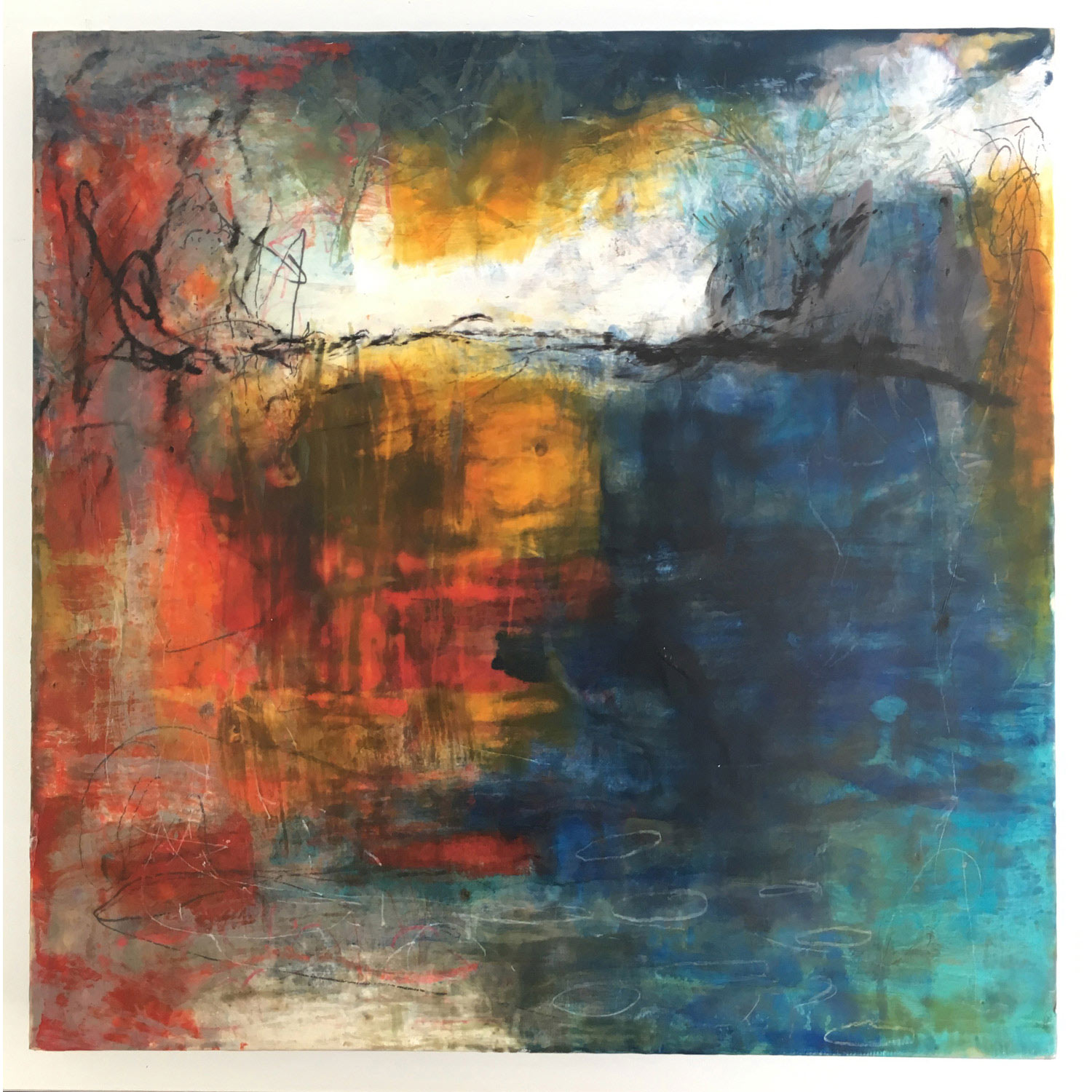 Platypus Pond II  $950 Encaustic and mixed media on cradled birch panel, 50 x 50cm   Enquire
