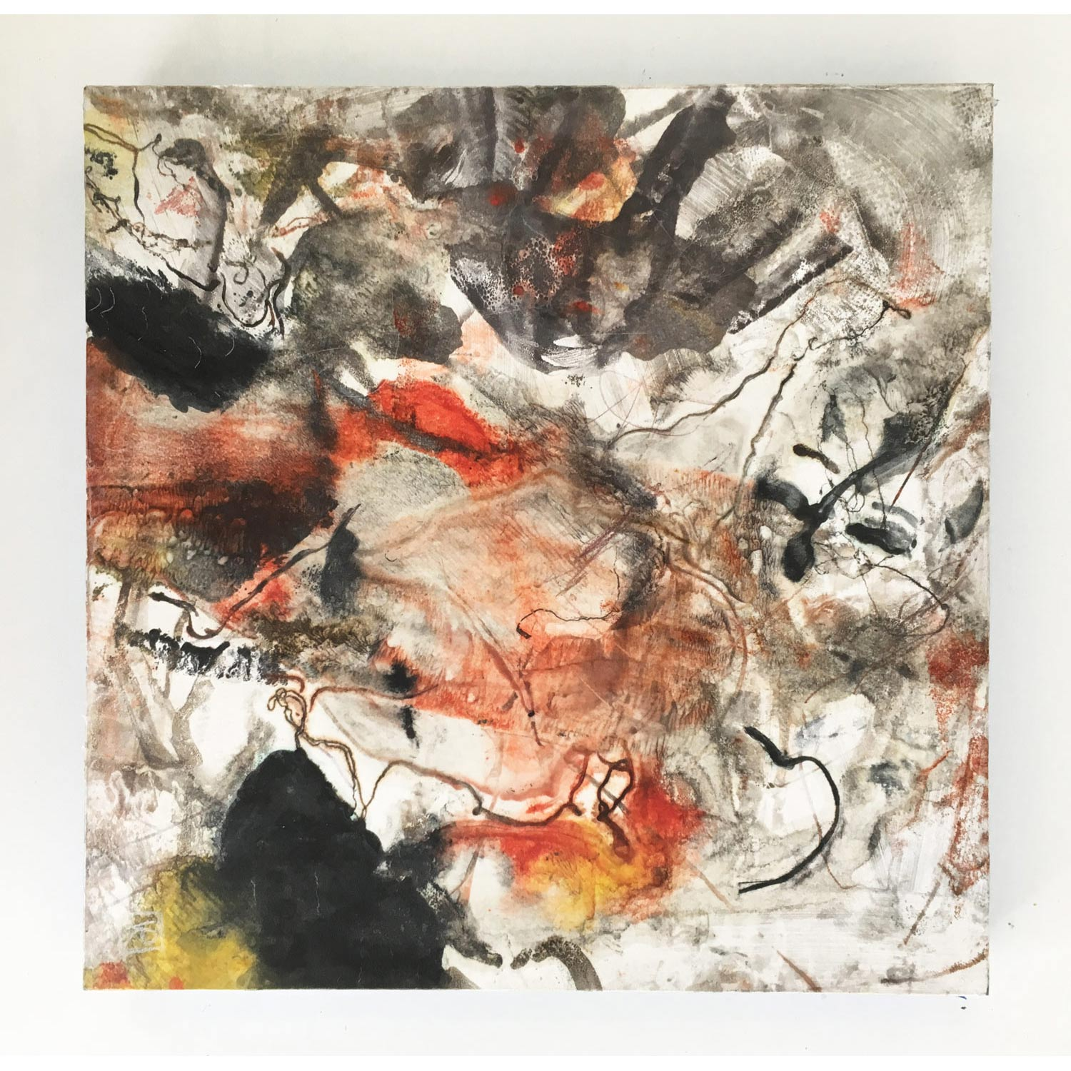 Burrowing  $640 Encaustic monotype on Kozo paper, mounted on cradled panel, 30 x 30cm   Enquire