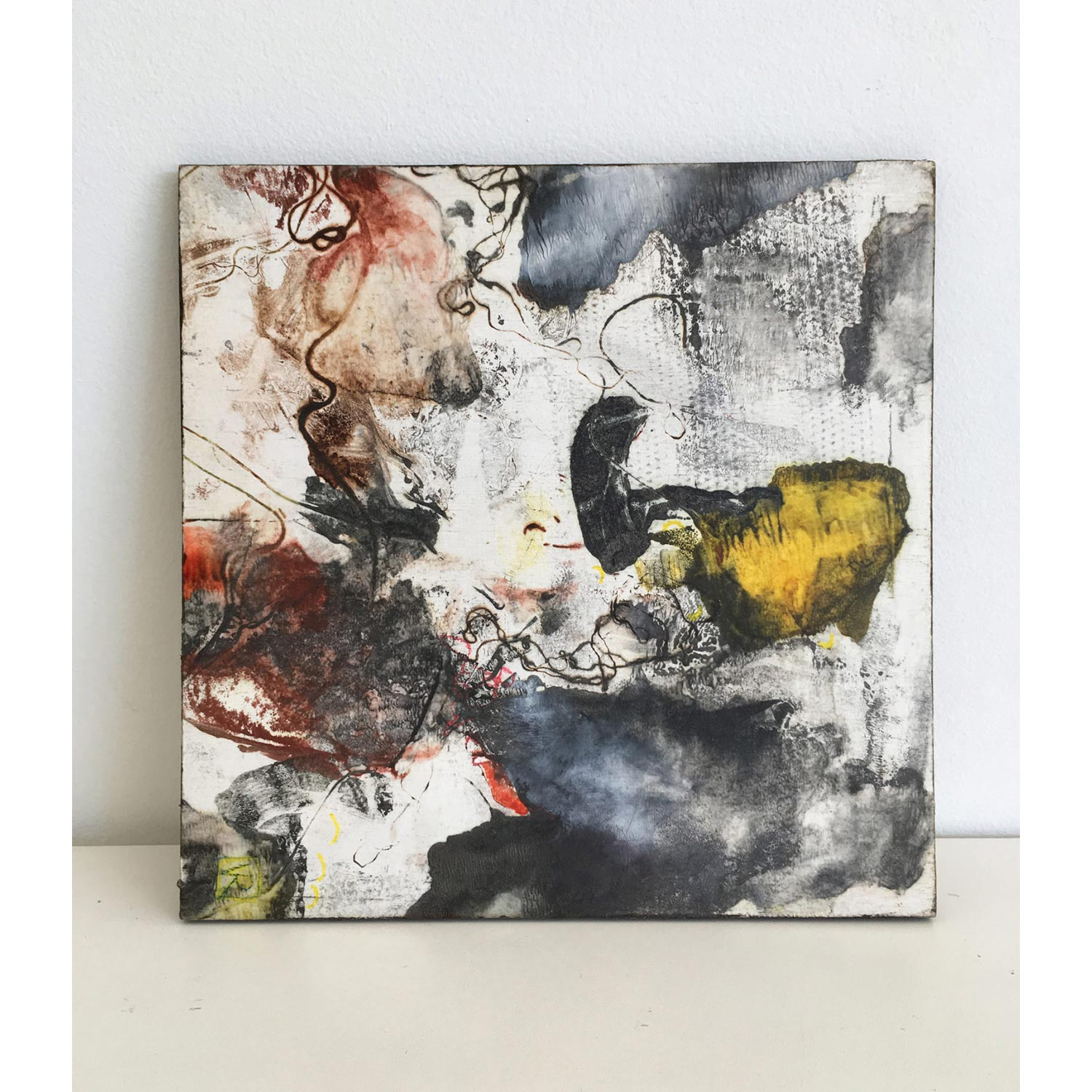 Burrowing III  SOLD Encaustic monotype on Kozo paper, mounted on cradled panel, 30 x 30cm   Enquire