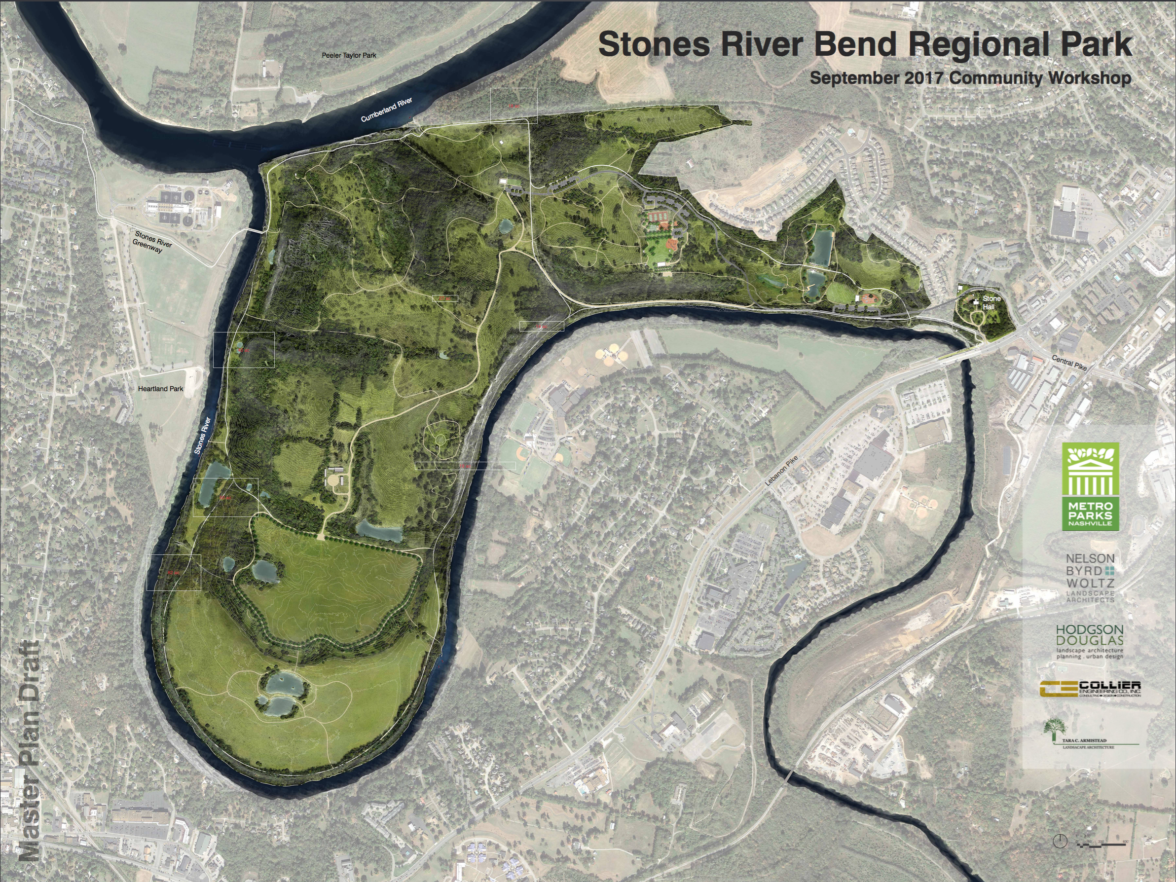 Draft map of the Stones River Bend Park from the master plan.
