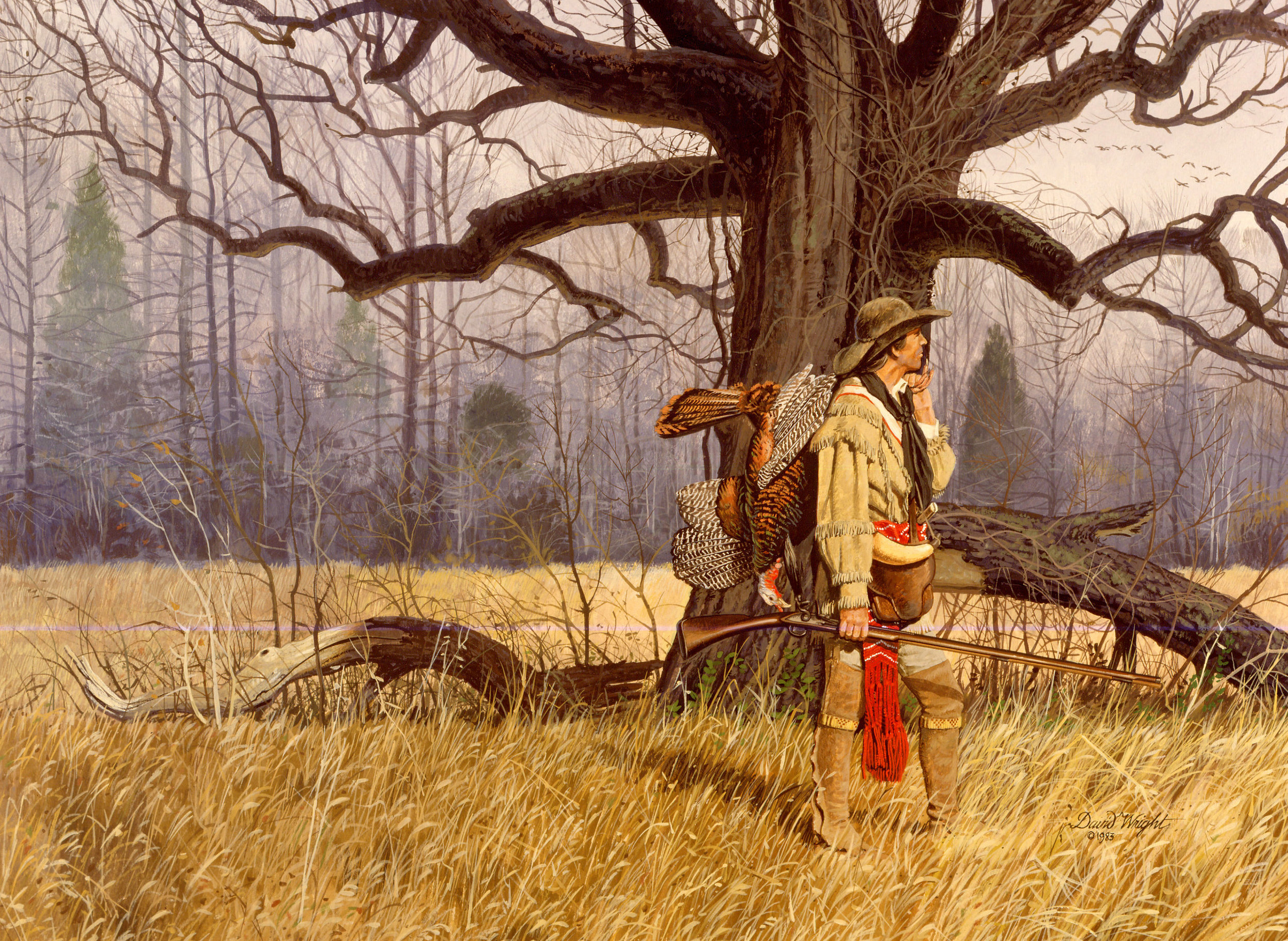 This painting by local artist David Wright depicts the early longhunters who ventured into the Nashville area in the 1770s. It shows the mosaic landscape that would have existed with scattered forests as in the background and open meadows and savannas shown in the foreground. The original composition of these meadows is not well known and no intact examples are known to exist.