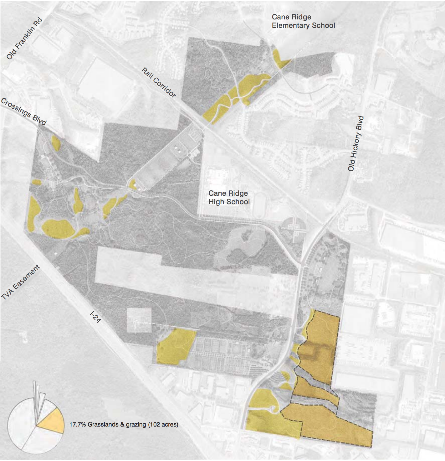 Draft map of the Southeast Park from the master plan showing proposed grassland restoration zones.