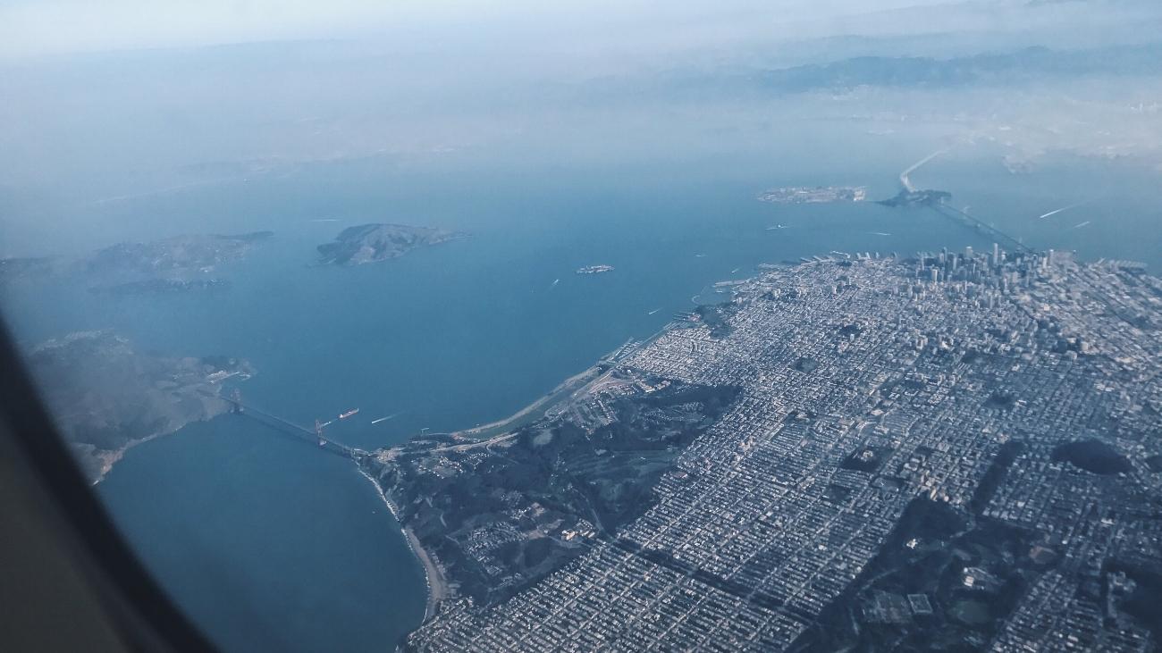 Golden Gate Bridge upon landing in SFO.