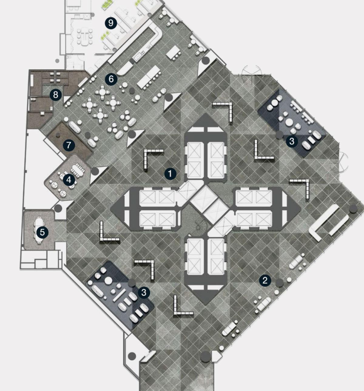 The building's geometric floorplate