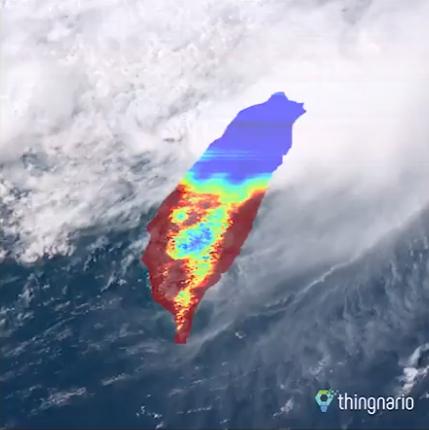 *衛星雲圖與模擬即時發電功率。