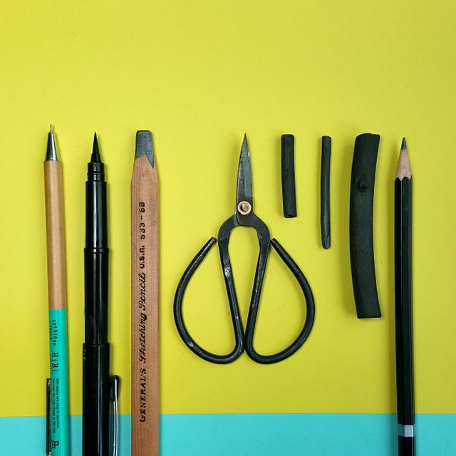 4:00 pm - So here are my most used tools, minus my wacom pen. Most of my textures are made with charcoal but I also use my brush pen, pencils, fine liners and just about anything that makes an interesting mark. I love my little craft scissors which are great when things get fiddly.