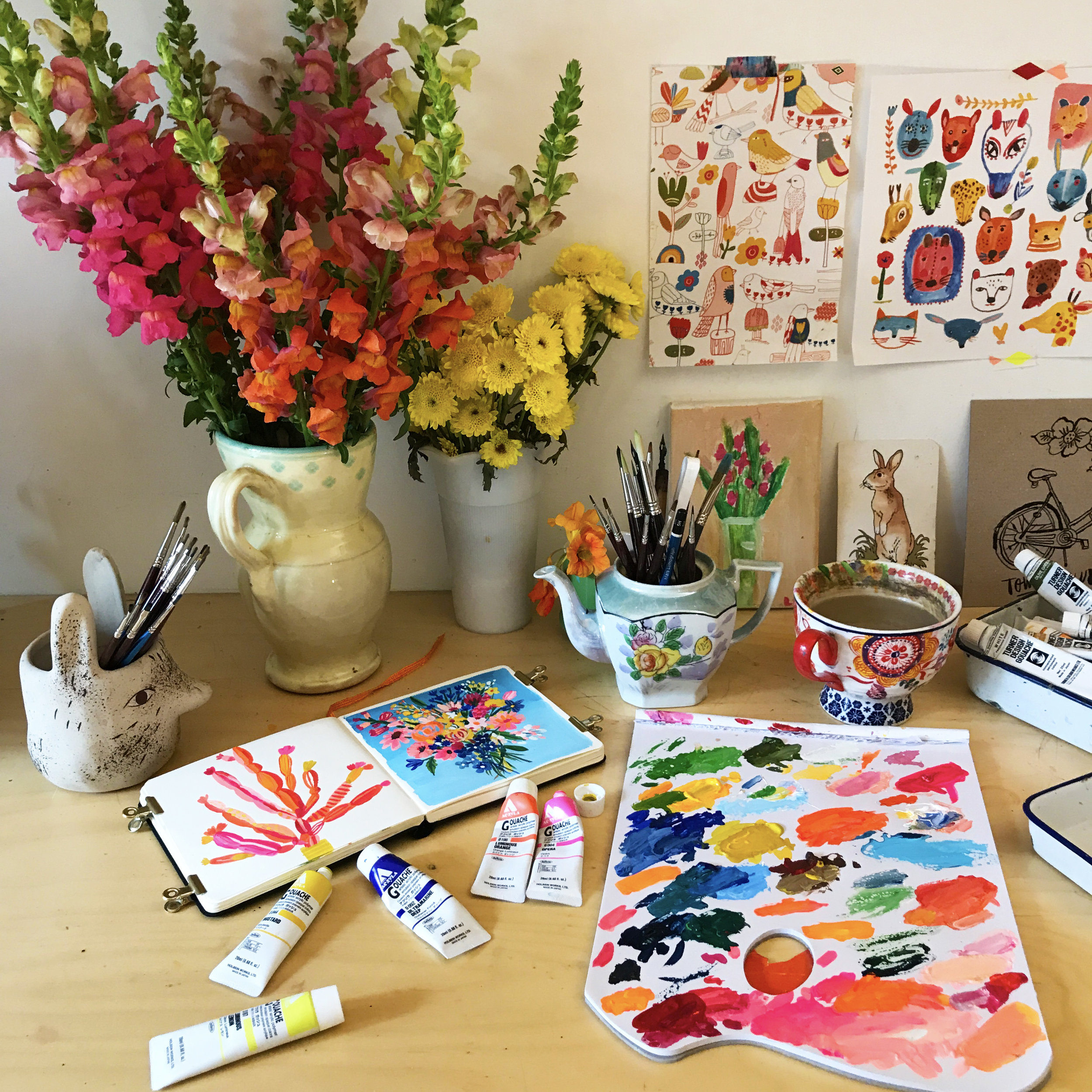 12:00 pm - I then went inside to the studio and setup the camera to make a timelapse demo video. I made 3 that day - the succulents, the Snapdragons and a bouquet on blue. I jump back and forth between Gouache and Watercolour depending on my mood, subject matter and inspiration.