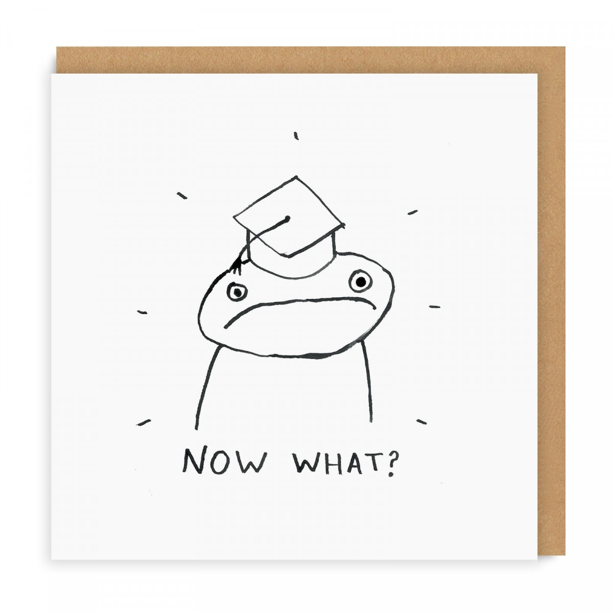 NOW WHAT? GREETING CARD - We're all thinking it. Let's all joke about it and hope that the post-grad fear is swept under the carpet! The perfect card for the scariest of occasions.